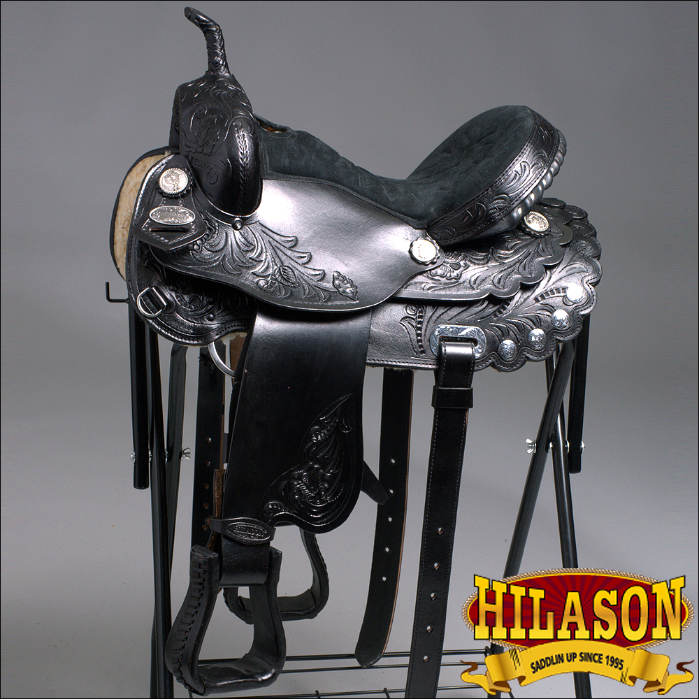 14'' HILASON FLEX-TREE BARREL RACING TRAIL WESTERN LEATHER HORSE SADDLE by HILASON