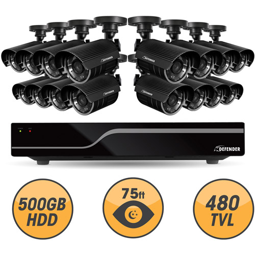 Defender Sentinel 16CH H.264 500GB Smart Security DVR Including 16 Hi-Res Outdoor Cameras with 75ft Night Vision,21049