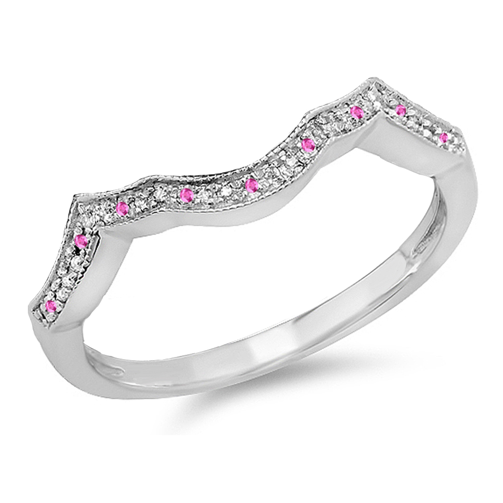 Sterling Silver Round Real Pink Sapphire & White Diamond Ladies Wedding Stackable Anniversary Guard Ring