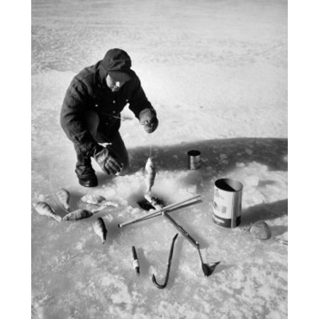 High angle view of a mid adult man fishing on ice Canvas Art -  (18 x