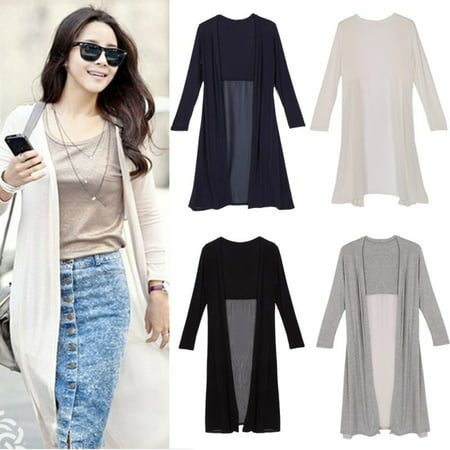 EFINNY Women Casual Solid Long Sleeve Cardigan Jacket Loose Coat Chiffon Sun Protection Maxi Dress ()