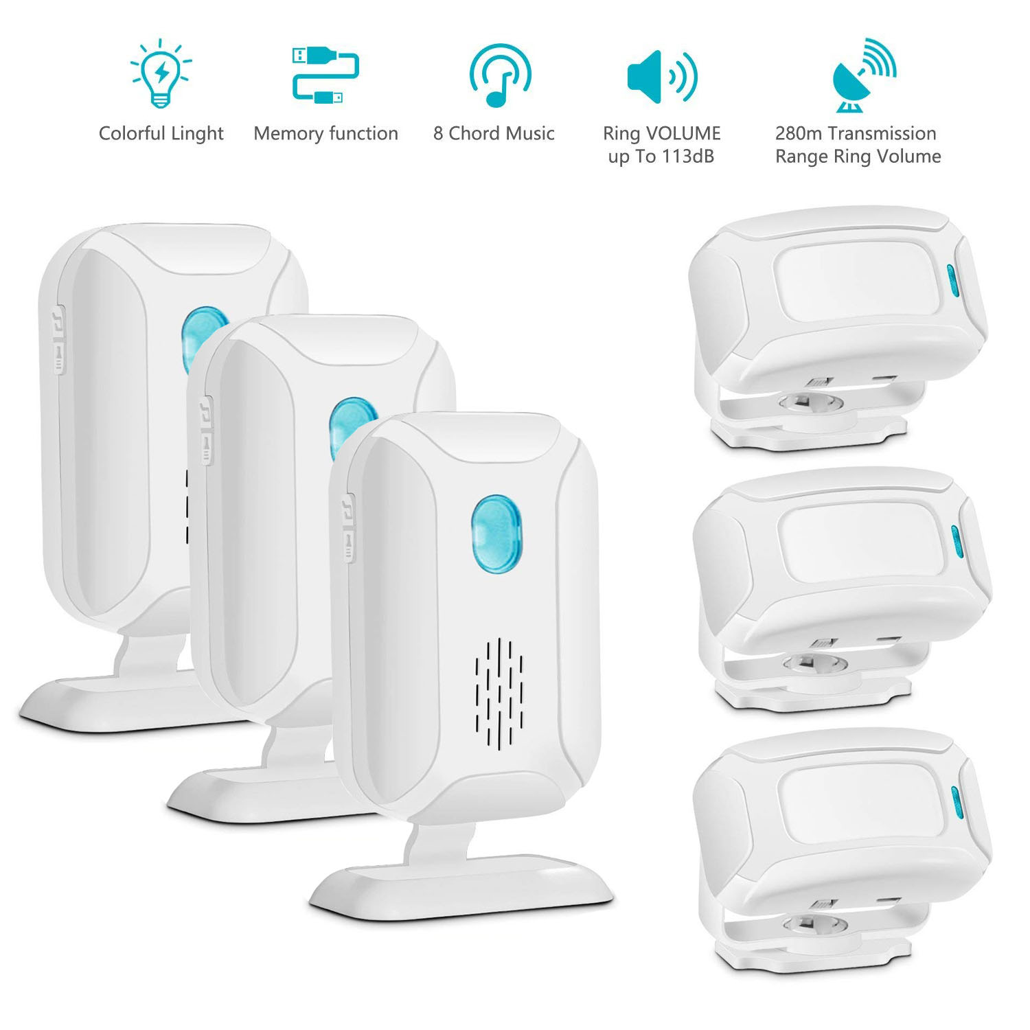 GREENCYCLE 3 Set (3 Sensor,3 Alarm) Muti-function Wireless Welcome Warning Greeting Doorbell PIR Motion Detector Sensor Visitor Alarm Chime Door Bell Infrared Security Smart Entry Alert System Kit