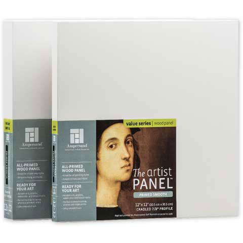 AMPERSAND ART SUPPLY PWP751212 ARTIST PANEL PRIMED SMOOTH 7/8 INCH CRADLED 12X12