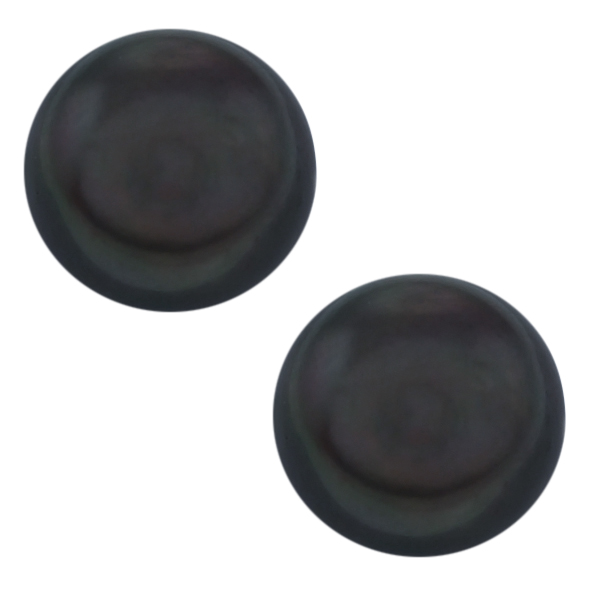 10mm Black Color Cultured Freshwater Pearl Sterling Silver Earring Studs