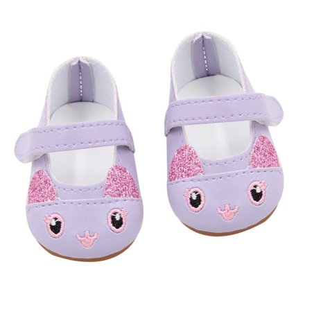 3e9154dbe2b75 Purple Kitten Slippers fits American Girl Dolls and My Life as Dolls 18  Inch Doll Shoes