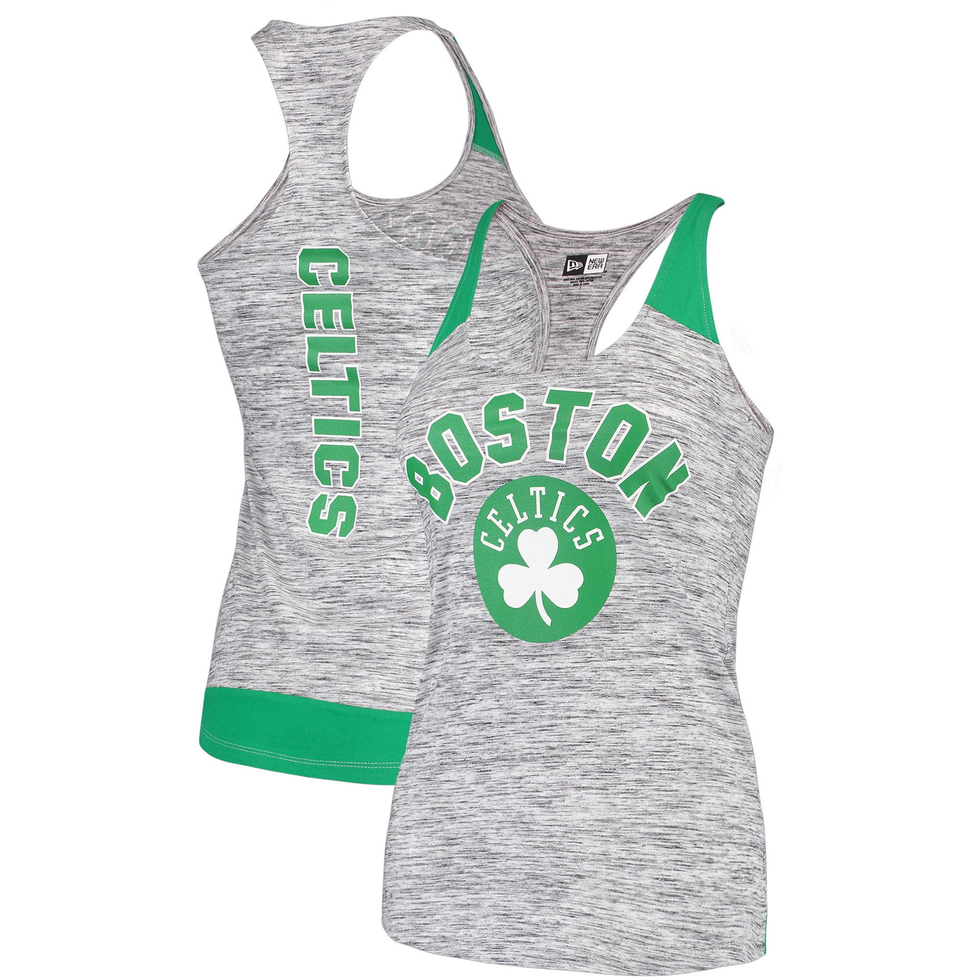 Boston Celtics New Era Women's Space Dye Racer Back Tank Top - Heathered Gray/Kelly Green