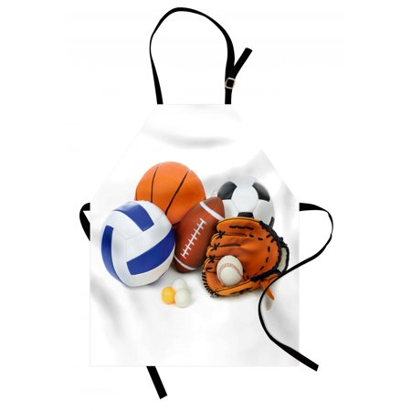 Sports Apron Many Different Sports Balls All Together Championship Ping Pong Volleyball Olympics, Unisex Kitchen Bib Apron with Adjustable Neck for Cooking Baking Gardening, Multicolor, by Ambesonne