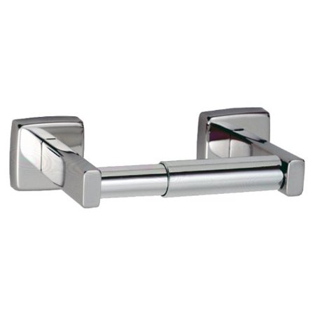 "6857 Stainless Steel Single Roll Toilet Tissue Dispenser, Satin Finish, 7-1/4"" Width x 2"" Height x 3-15/16"" Projection By Bobrick"