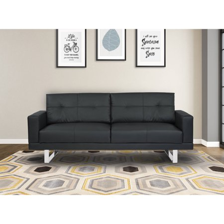 Armen Living Lincoln Mid Century Futon Sofa Bed In Black Tufted Faux Leather With Chrome