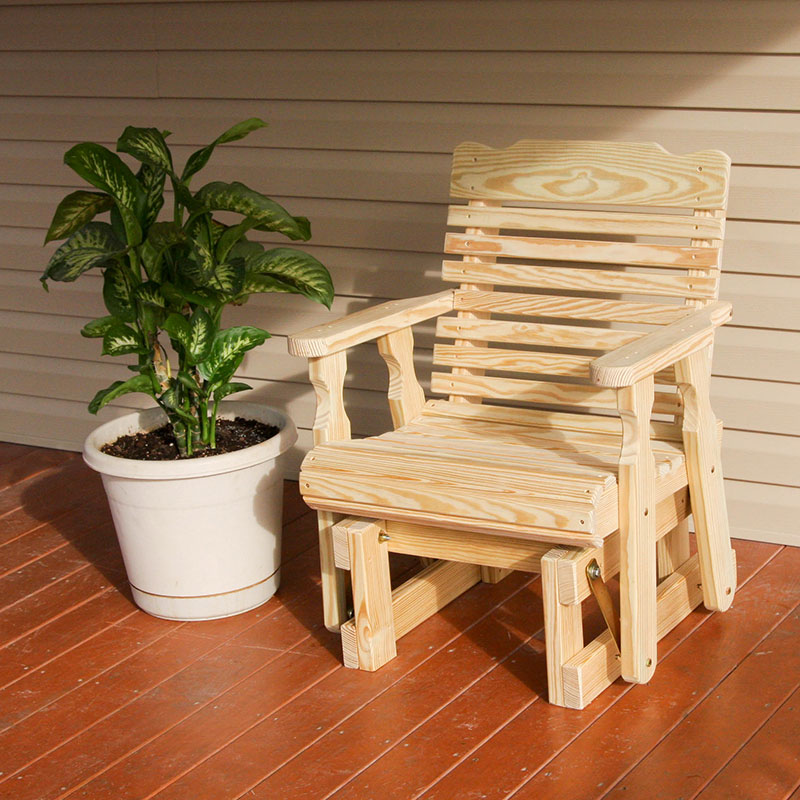 Amish Heavy Duty 600 Lb Classic Pressure Treated Glider Chair (Unfinished)
