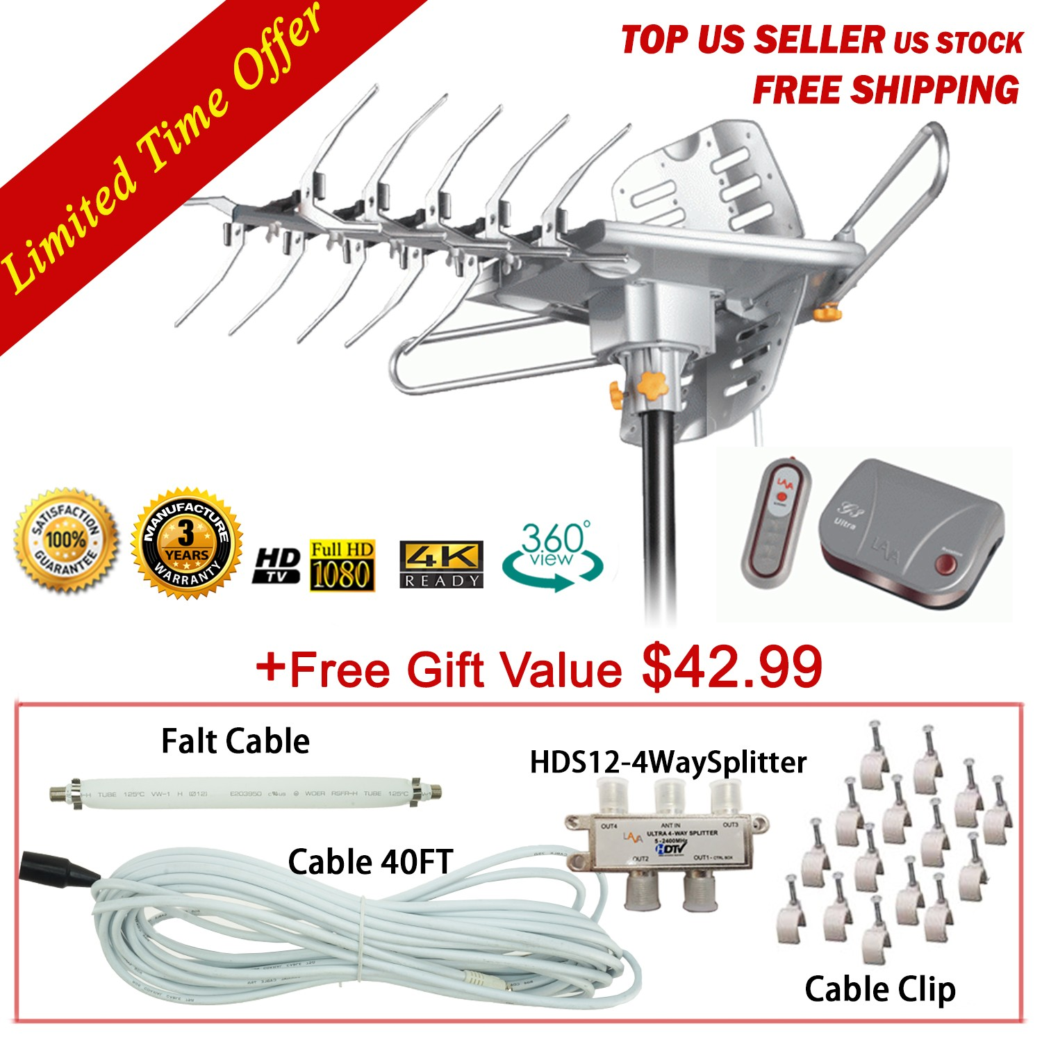 LAVA HD 2605 Ultra 4K Motorized Outdoor HDTV UHF/VHF Antenna with 20% More Gain