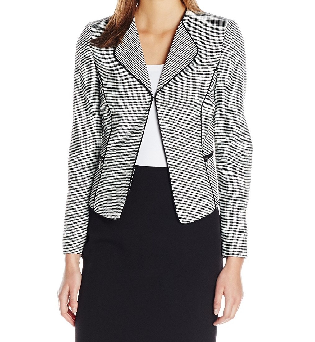 Tahari By ASL NEW Black Womens Size 8 Wing Collar Houndst...