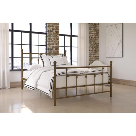 DHP Manila Metal Bed with Victorian Style Headboard and Footboard, Includes Metal Slats, Full, (Full Slat Panel Bed)