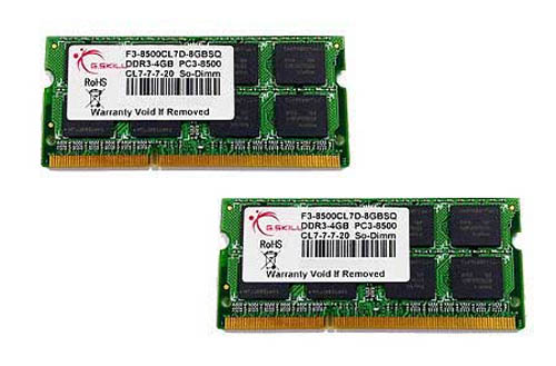 G.SKILL 8GB (2 x 4GB) 204-Pin DDR3 SO-DIMM DDR3 1066 (PC3 8500) Laptop Memory-Unbuffered- F3-8500CL7D-8GBSQ