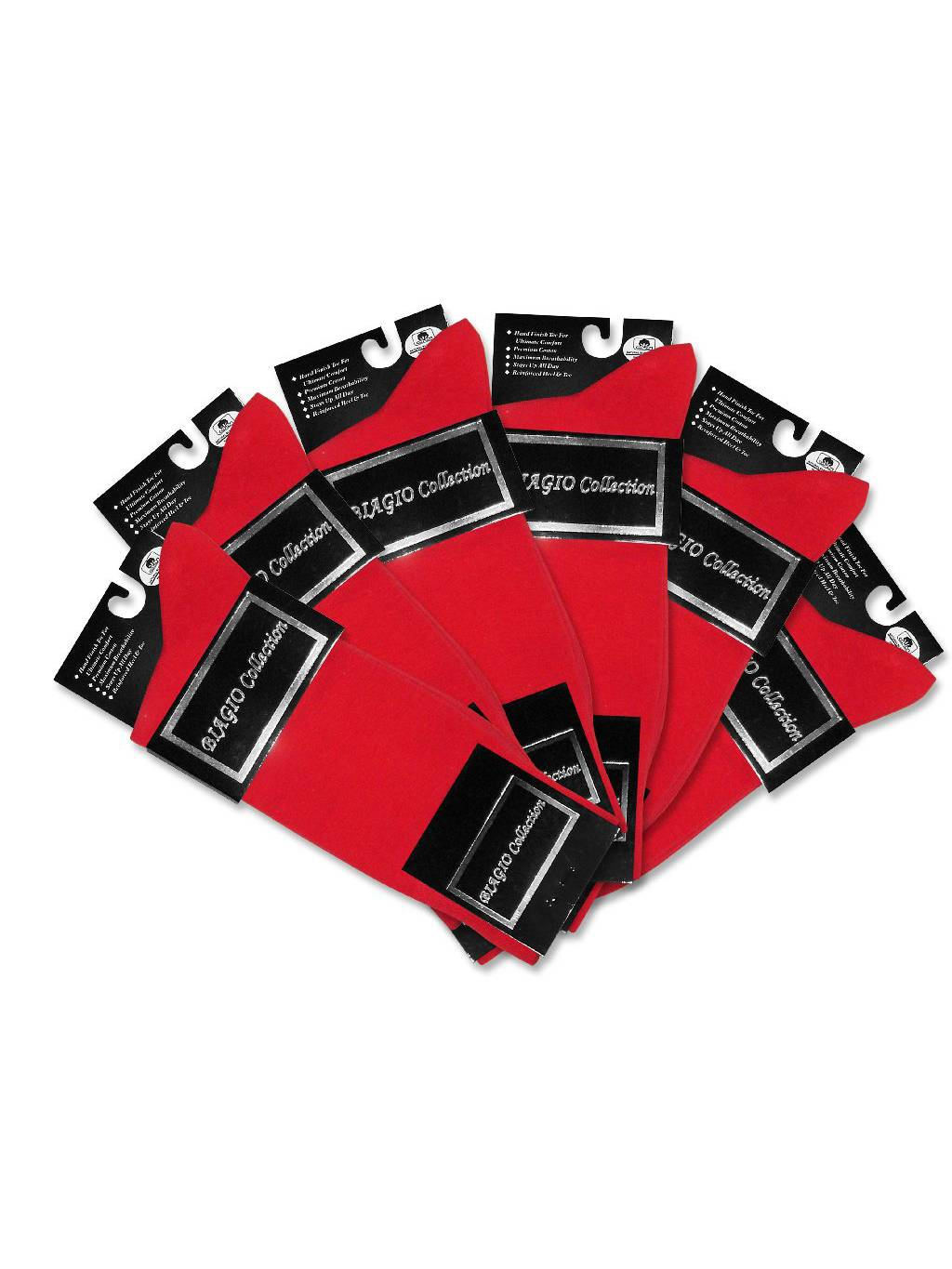 6 Pair of Biagio Solid RED Color Men's COTTON Dress SOCKS