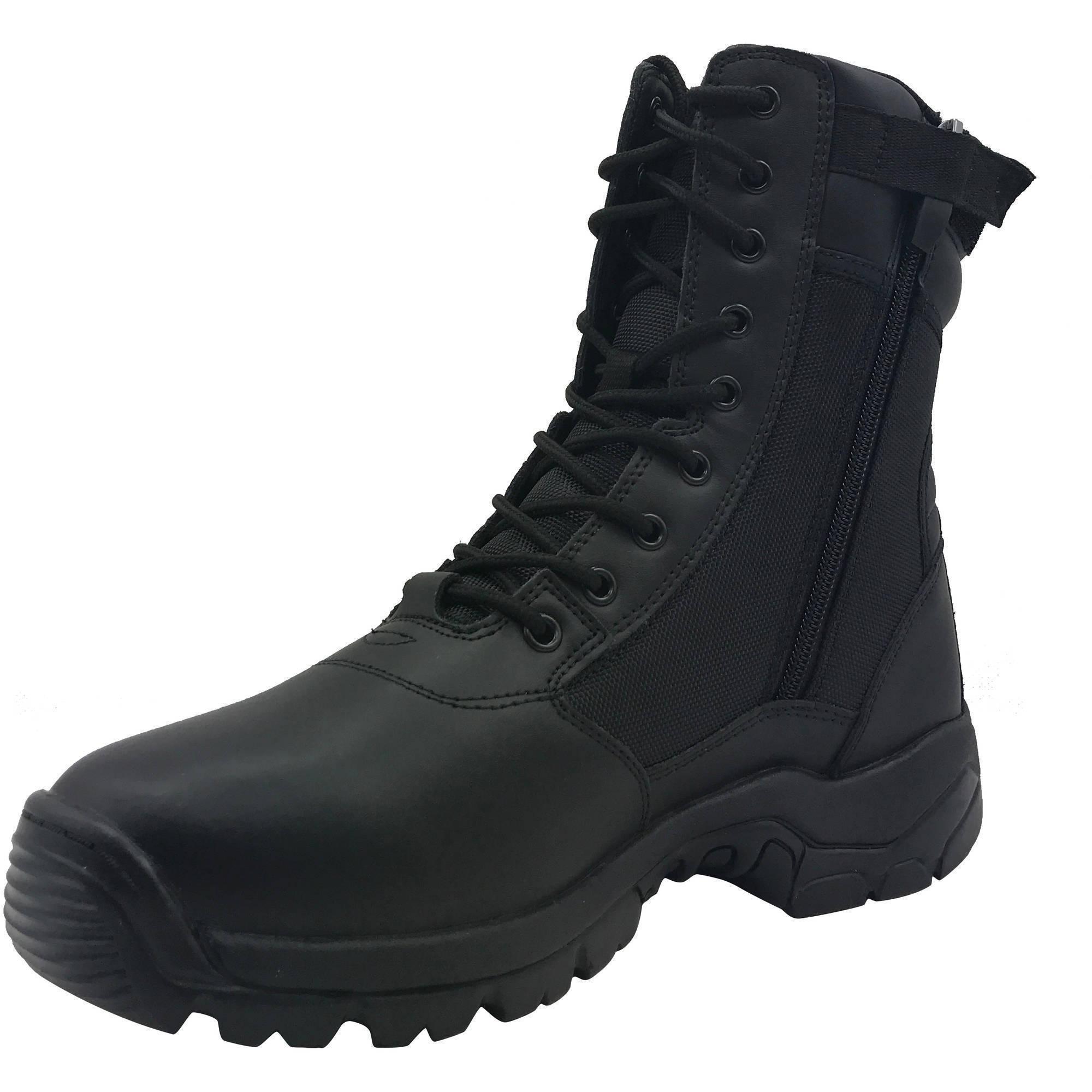 Interceptor Mens Kentin Zippered Tactical Work Boots, Black
