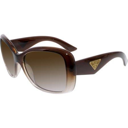 6e344a40823fc Prada - Prada Women s Polarized PR32PS-PDM6E1-57 Brown Butterfly Sunglasses  - Walmart.com