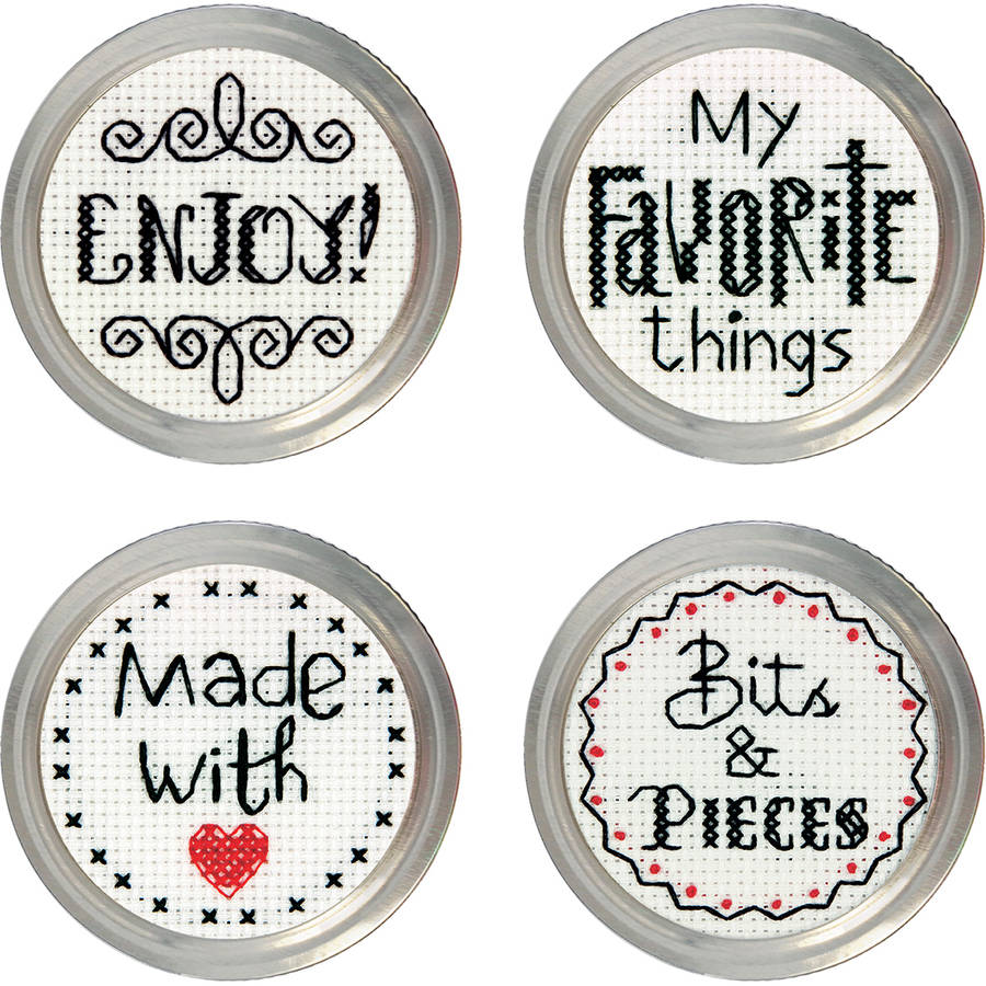 Favorite Label Jar Topper Counted Cross-Stitch Kit, Set of 4