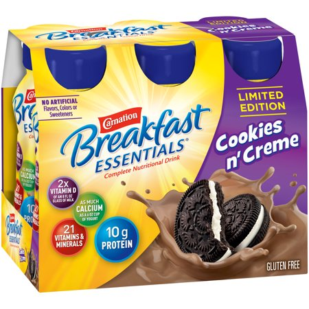 Carnation Breakfast Essentials Cookies n Creme 8 fl. oz. Bottles 6 Count Instant Breakfast Shake Apple