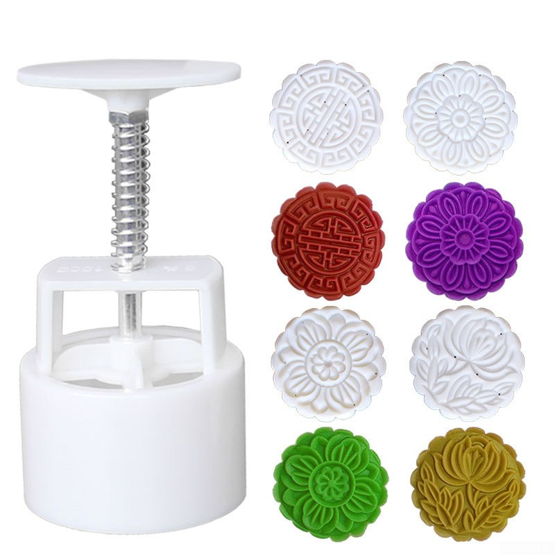 ZIRAN Moon Cake Mould 100G Mooncake Barrel Mold With 6Pcs Flower Stamps Hand Press Moon Cake Pastry