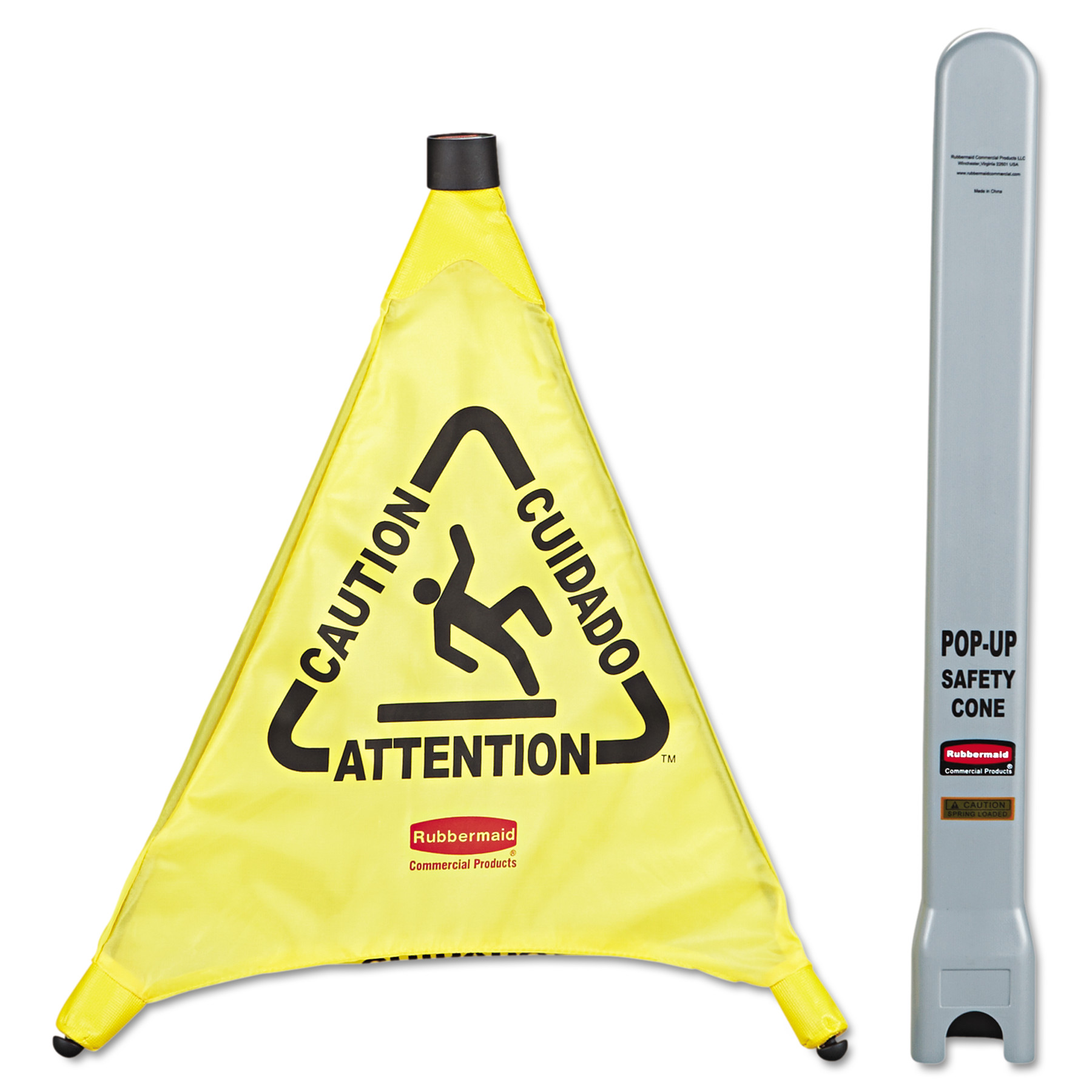 "Rubbermaid Commercial Multilingual ""Caution"" Pop-Up Safety Cone, 3-Sided, Fabric, 21 x 21 x 20, Yellow"