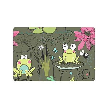MKHERT Cute Frog with Flowers Doormat Rug Home Decor Floor Mat Bath Mat 23.6x15.7 inch