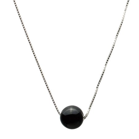 Round 10mm Black Onyx Stone Station Sterling Silver Box Chain Necklace - Black Onyx Silver Necklace