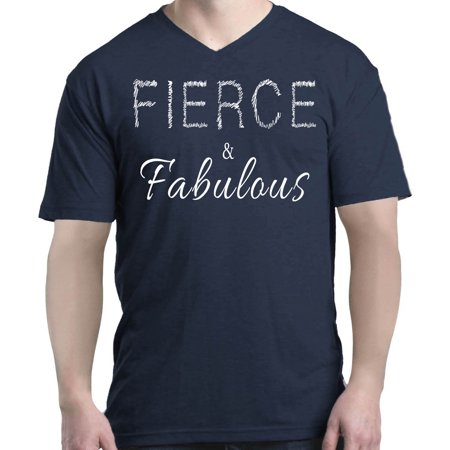 Shop4Ever Men's Fierce and Fabulous Gym Motivational V-Neck T-Shirt Shirts