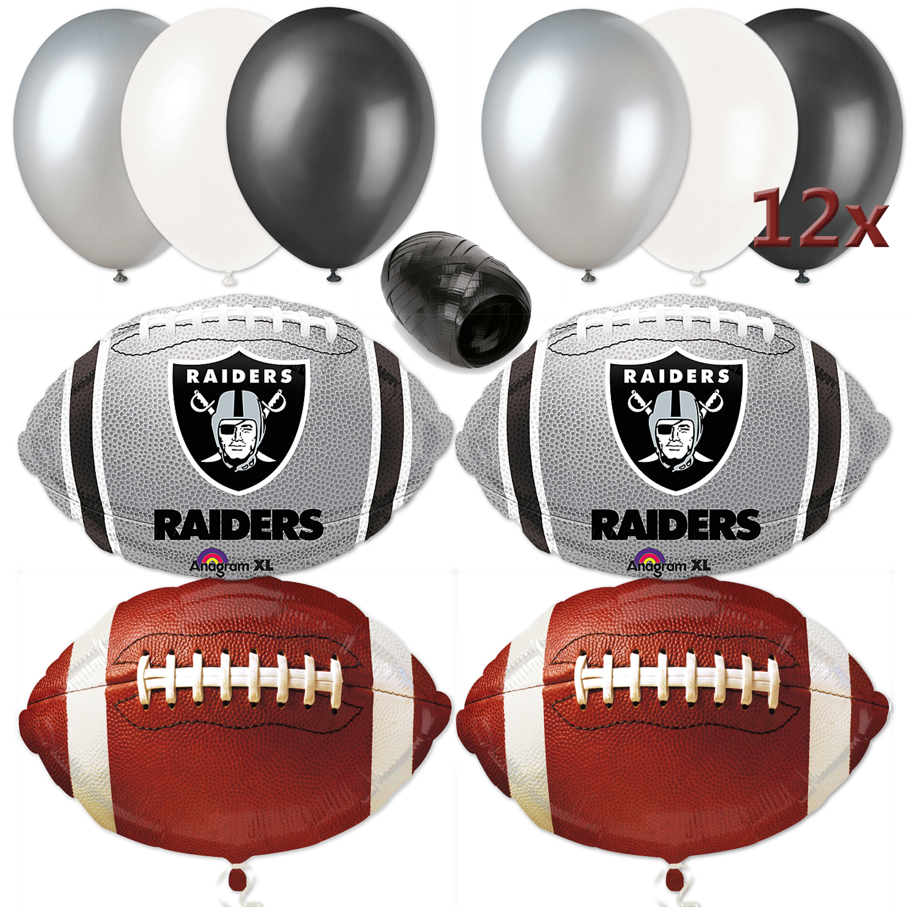 Oakland Raiders NFL Football Decorating Party 17pc Balloon Pack Grey Black White
