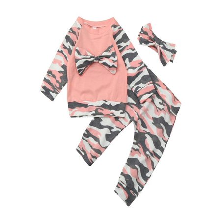 Outtop Newborn Toddler Baby Girls Boys Camouflage Bow Tops Pants Outfits Set Clothes