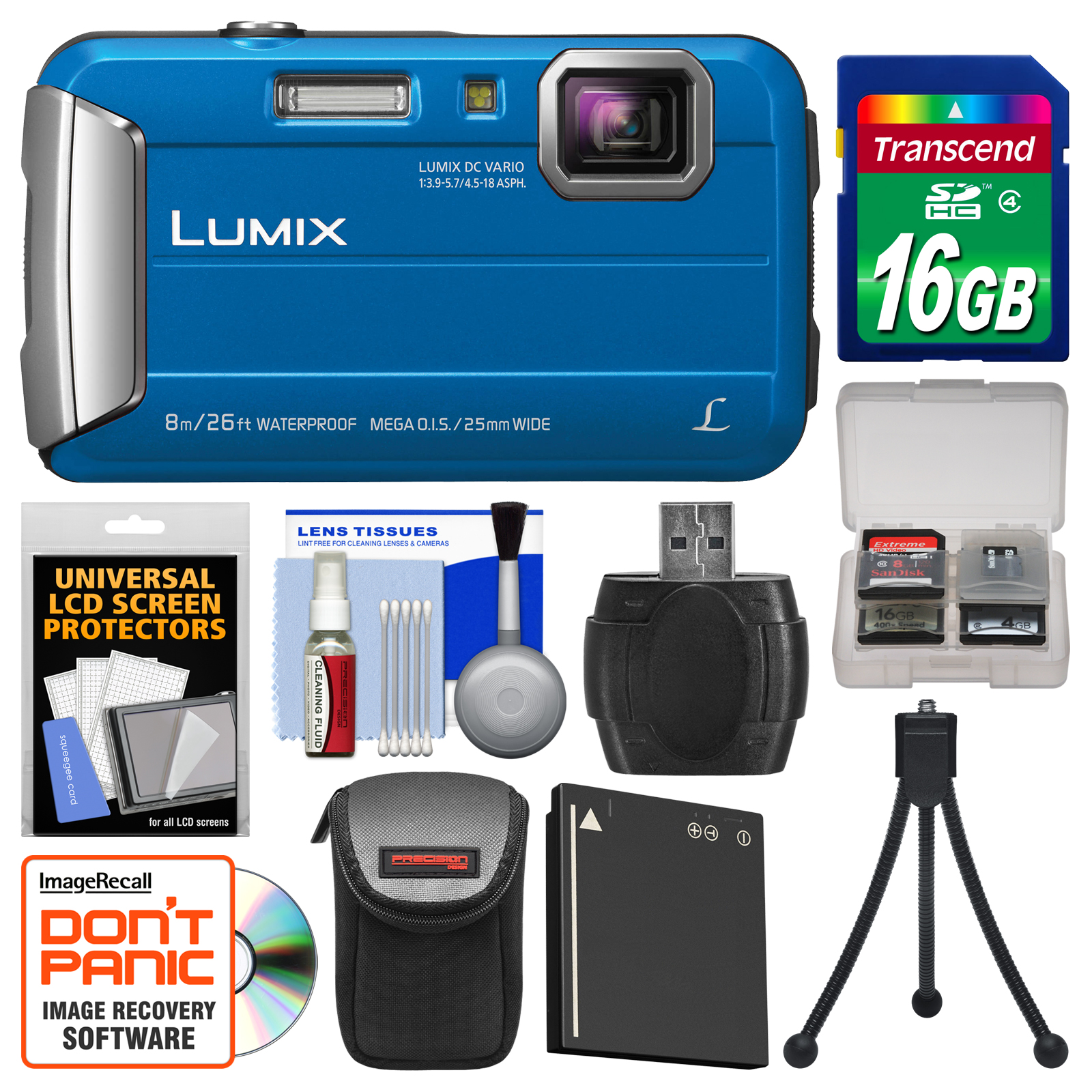 Panasonic Lumix DMC-TS30 Tough Shock & Waterproof Digital Camera (Blue) with 16GB Card +