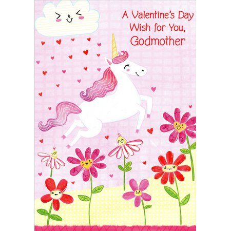 Designer Greetings Unicorn and Flowers: Godmother Juvenile Valentine's Day Card - Unicorn Valentine