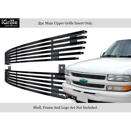 Compatible with 1999-2002 Chevy Silverado 1500 06 Tahoe Stainless T304 Black Billet Grille Grill N19-J86058C