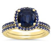 1.75 Carat (ctw) 18K Yellow Gold Cushion & Round Cut Blue Sapphire Ladies Bridal Halo Engagement Ring With Matching Band