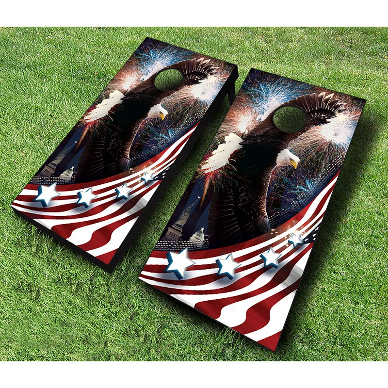 CORNHOLE BEANBAG TOSS GAME w Bags American Patriotic Bald Eagle Board Set 40