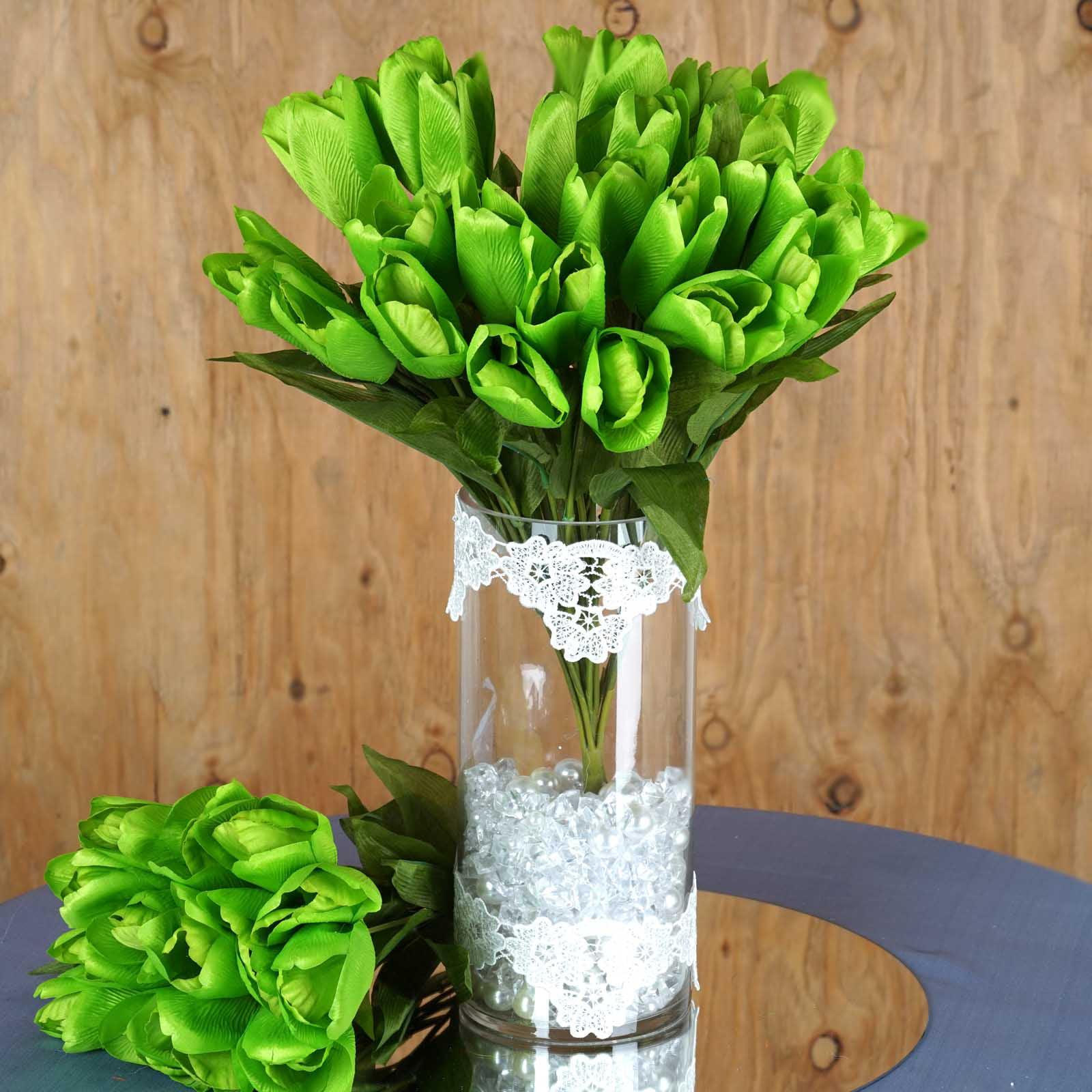 BalsaCircle 56 Silk Tulips Flowers - 4 bushes - DIY Home Wedding Party Artificial Bouquets Arrangements Centerpieces
