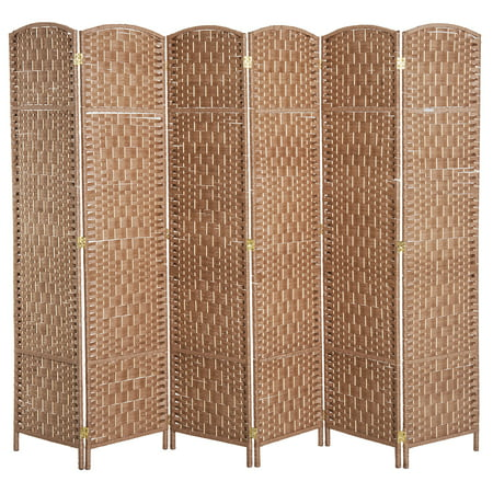 - HOMCOM 6' Tall Wicker Weave Six Panel Room Divider Privacy Screen - Natural Blond Wood