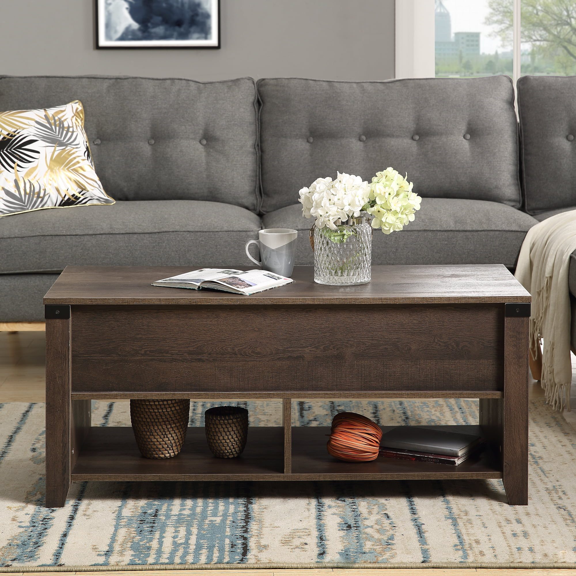 lift top coffee table end table with hidden storage and