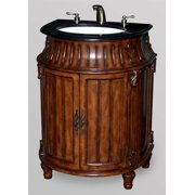 Barrel Shaped Vanity with Porcelain Basin and Marble Top