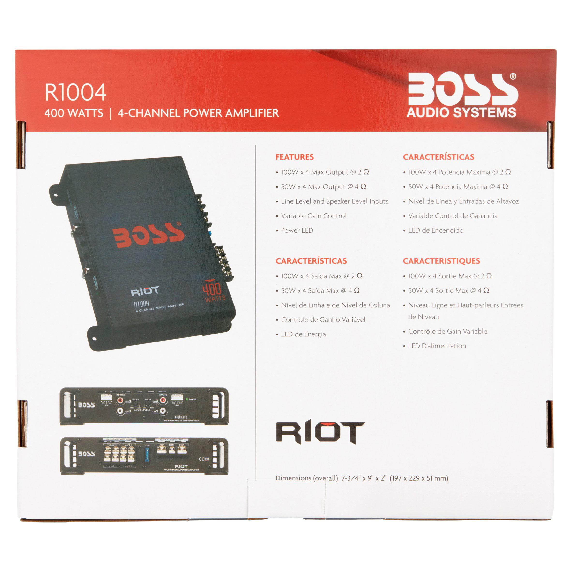 New Boss Audio Riot R1004 400 Watt 4 Channel Car Power Amplifier Amp 400w High Mosfet
