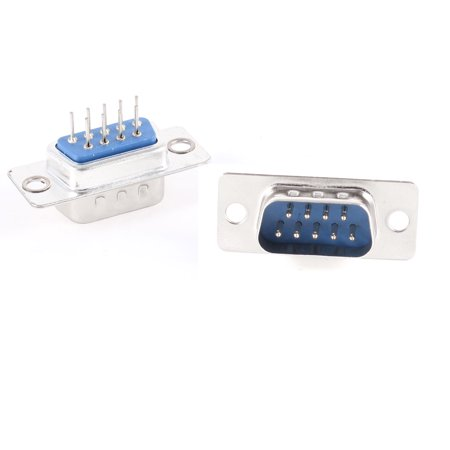 Unique Bargains DB-9 Dual Row 180 Degree Mounting Hole D-Sub PCB Connector Male Plug 2 Pcs - image 1 of 1