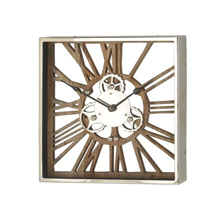 Decmode Industrial 16 X 16 Inch Square Wood, Aluminum And Stainless Steel Gear Wall Clock Wood Gear Clock