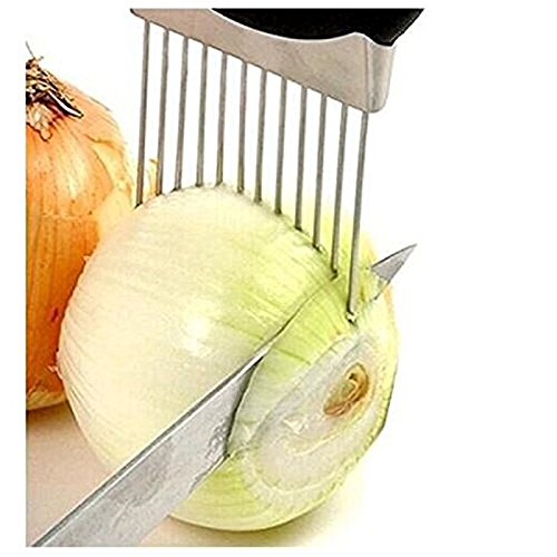 Onion Holder Vegetable Potato Cutter Slicer Gadget Stainless Steel Fork Slicing Odor Remover Kitchen Tool Aid Gadget Cutting Chopper (Stainless Steel)