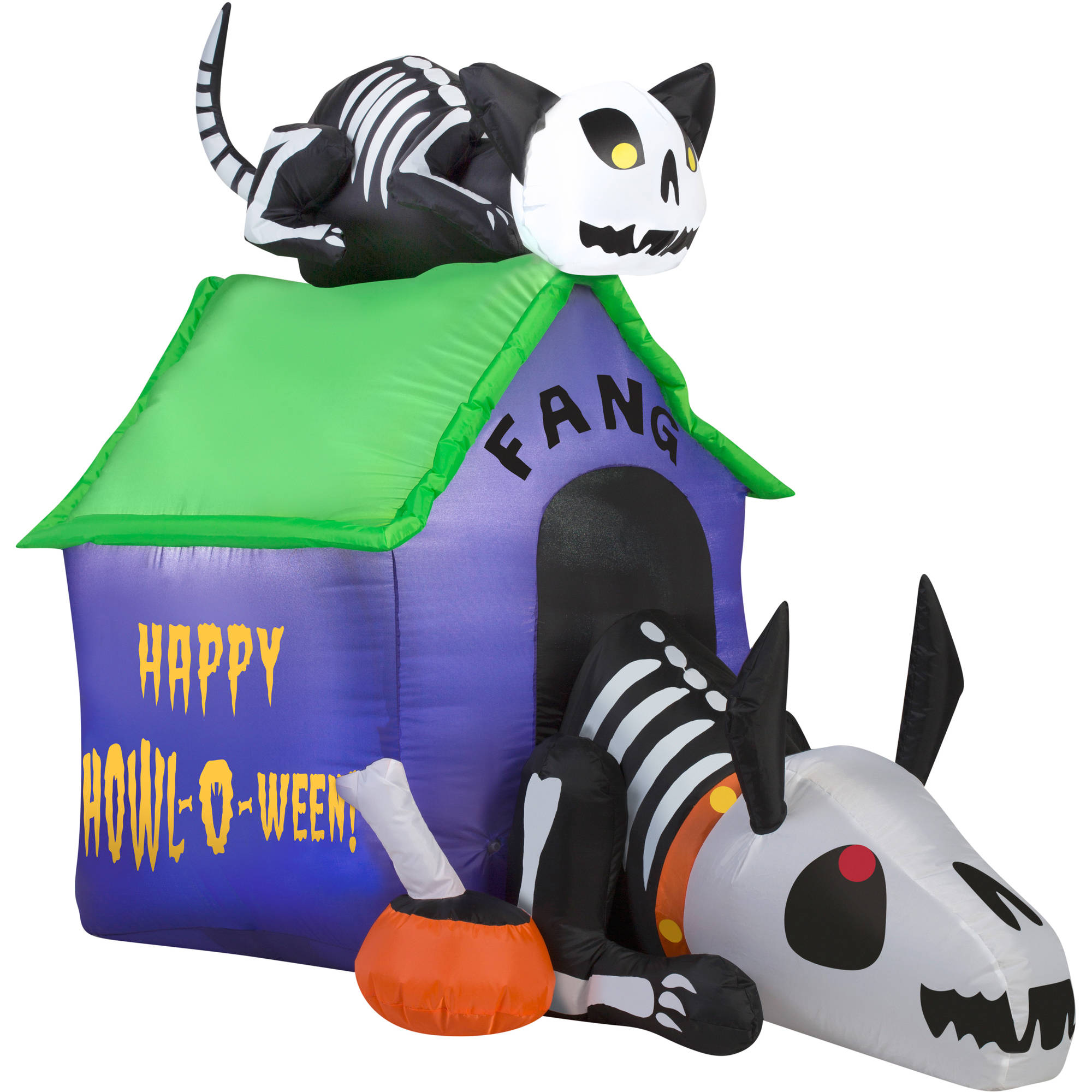 gemmy airblown inflatable 35 x 45 skeleton dog and cat halloween decoration walmartcom