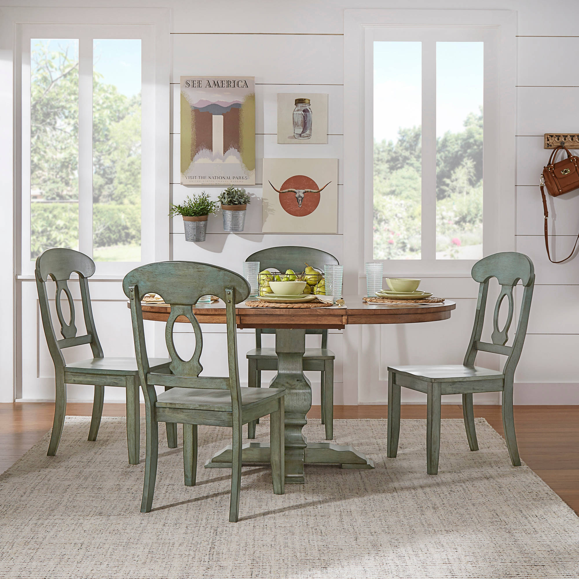 "Weston Home 5-Piece 60"" Oval Dining Set, With Oak And Dark"