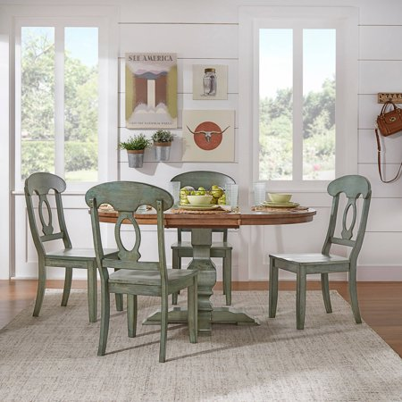 Weston Home 5 Piece 60 Oval Dining Set With Oak And Dark Sea Green Table Chairs
