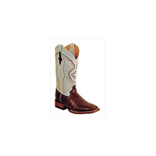 Ferrini 1249309080D Mens Belly Caiman Square Toe Boots, Chocolate & Pearl, 8D by