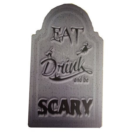 Aahs Engraving Halloween Small Tombstone Prop (Eat, Drink, and Be Scary) - Scary Sayings For Halloween Tombstones