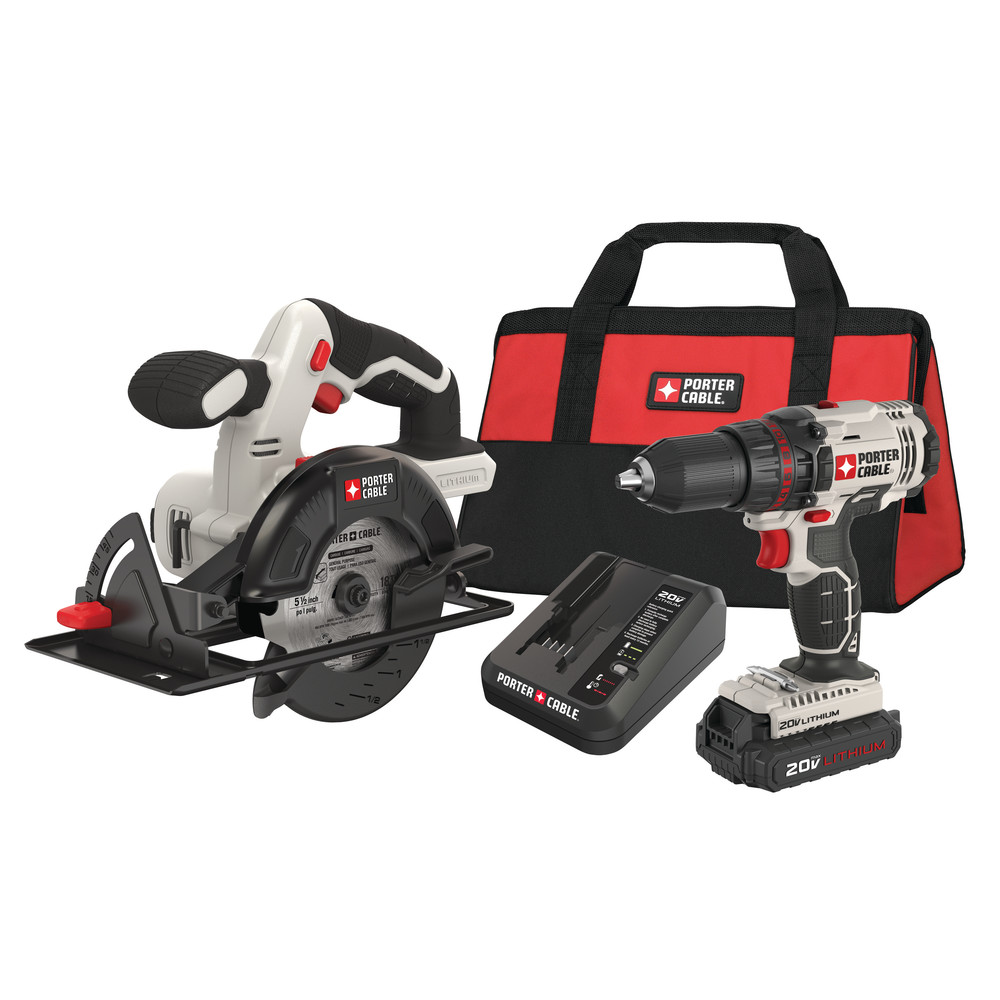 Factory-Reconditioned Porter-Cable PCCK612L2R 20V MAX Cordless Lithium-Ion 1 2 in. Drill & 5-1 2 in. Circular... by