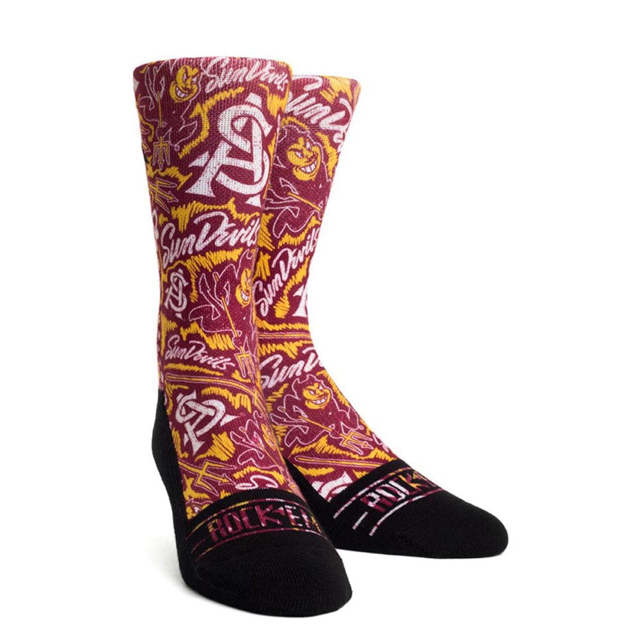 Arizona State Sun Devils Adult NCAA Logo Sketch Socks - Maroon